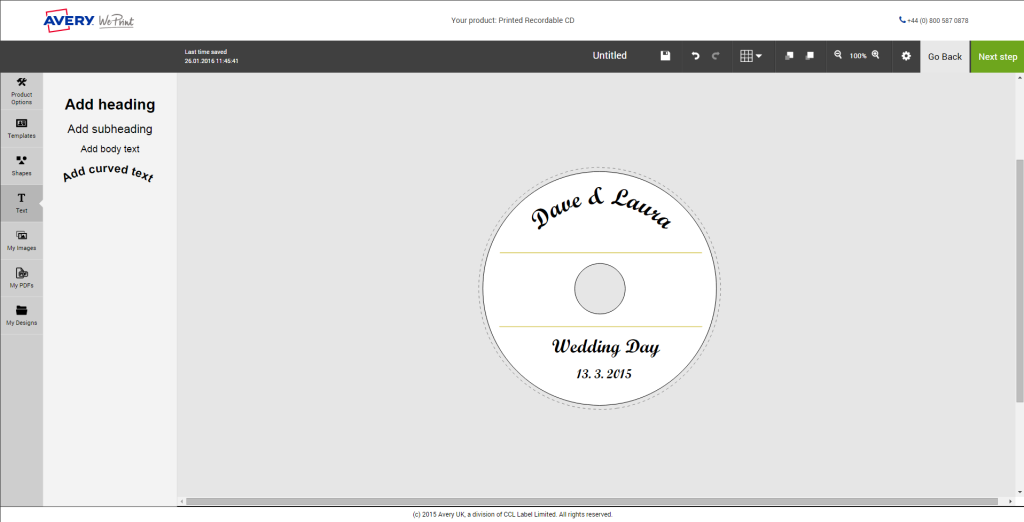 Using curved text for printed discs