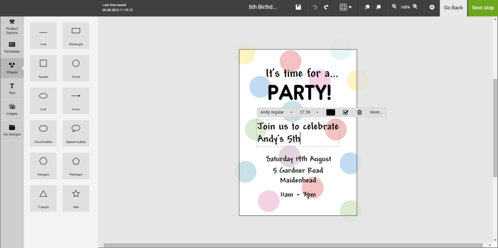 Personalised kid's birthday invitation