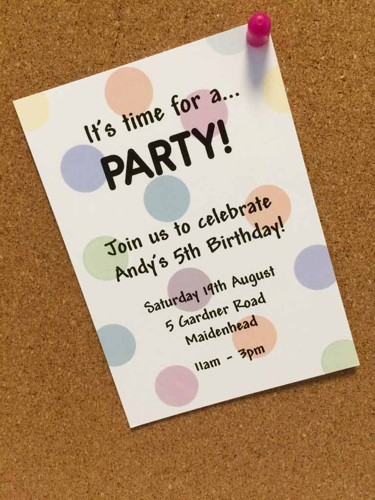 Andy's kids personalised party invitation