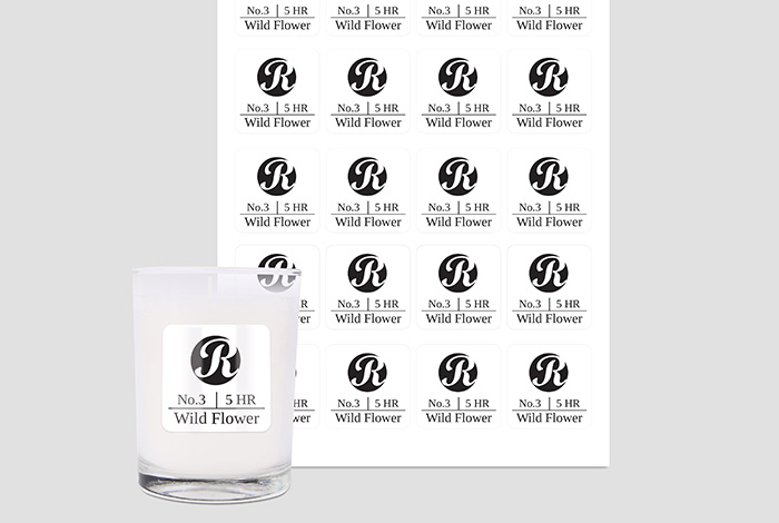 White PP Labels Square 45 x 45mm Gloss Finish