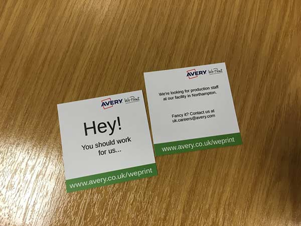 Get recruiting with brand new recruiting business cards avery not sure about how to get started think about what type of job vacancy youre looking to fill were looking for some production staff in our facility in reheart