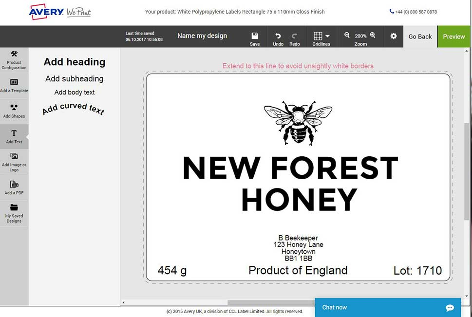 Honey label design by Avery WePrint on the configurator